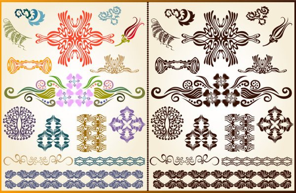 color Decorative pattern free vector 04