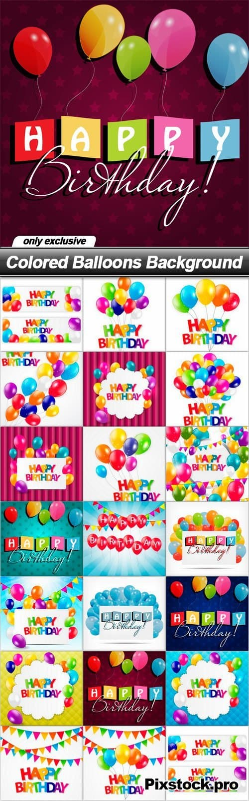 Colored Balloons Background – Happy Birthday