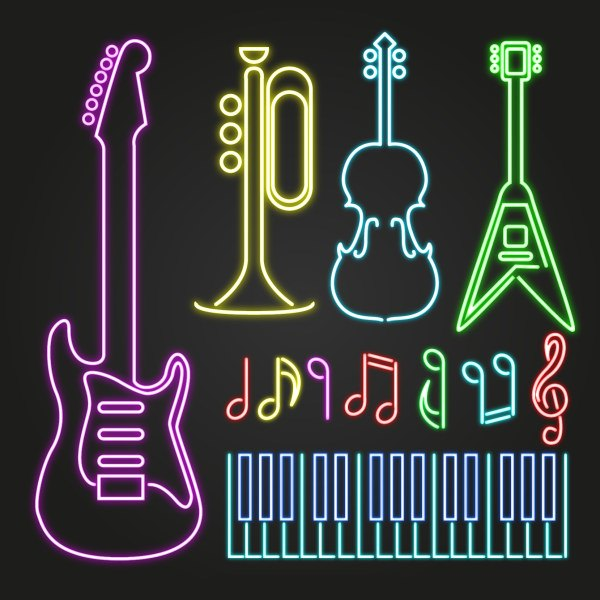 Colored light sticks musical instruments vector