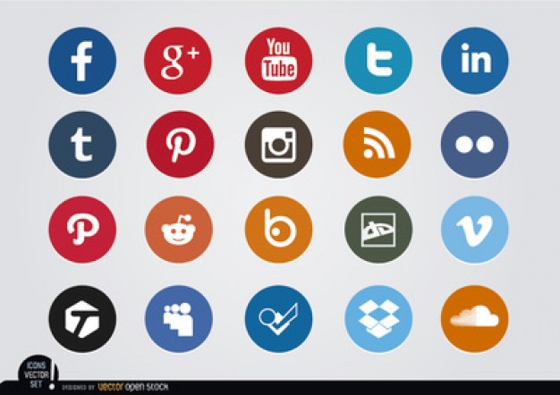 Colored social media circle icons   Vector | Free Download