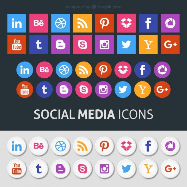 Colored social media icons  Vector | Free Download