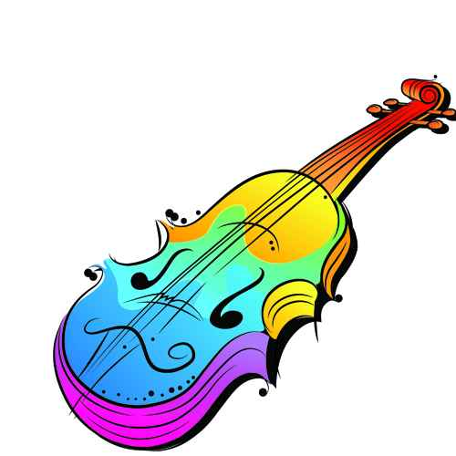 Colorful Animal and Musical instruments illustrations vector 04