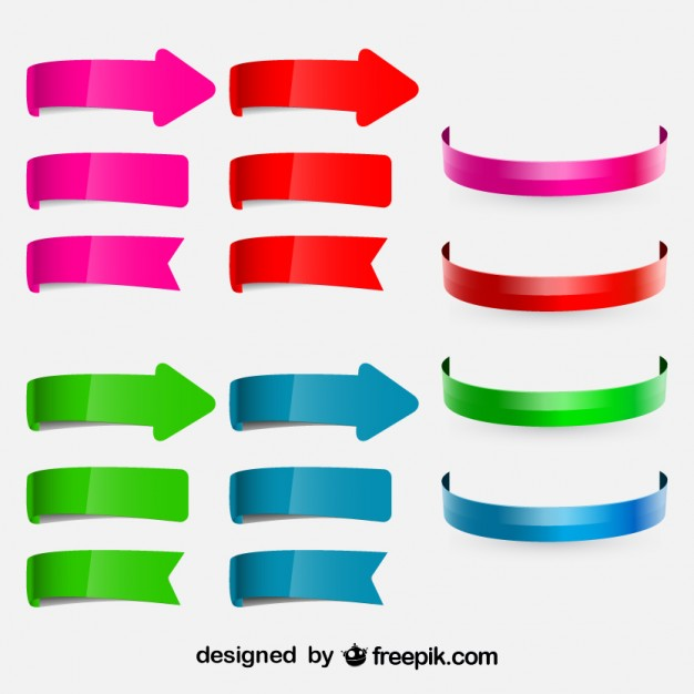 Colorful Circular Arrows and Ribbons Set  Vector | Free Download
