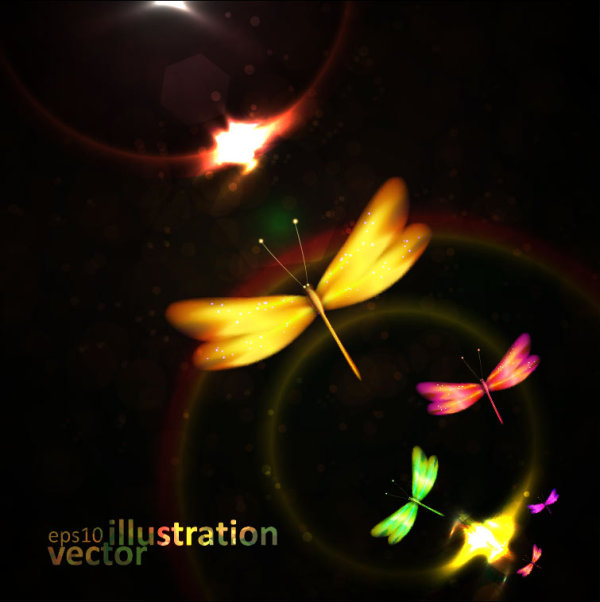 Colorful Dragonfly vector Illustration