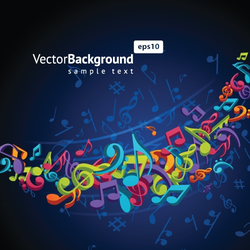 Colorful musical keys backgrounds vector 02