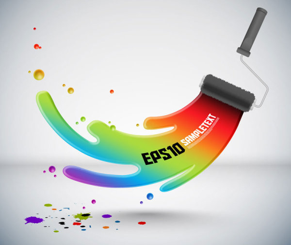 Colorful paint vector 01