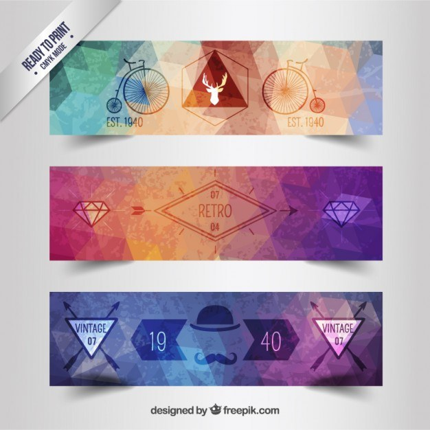 Colorful retro banners  Vector | Free Download
