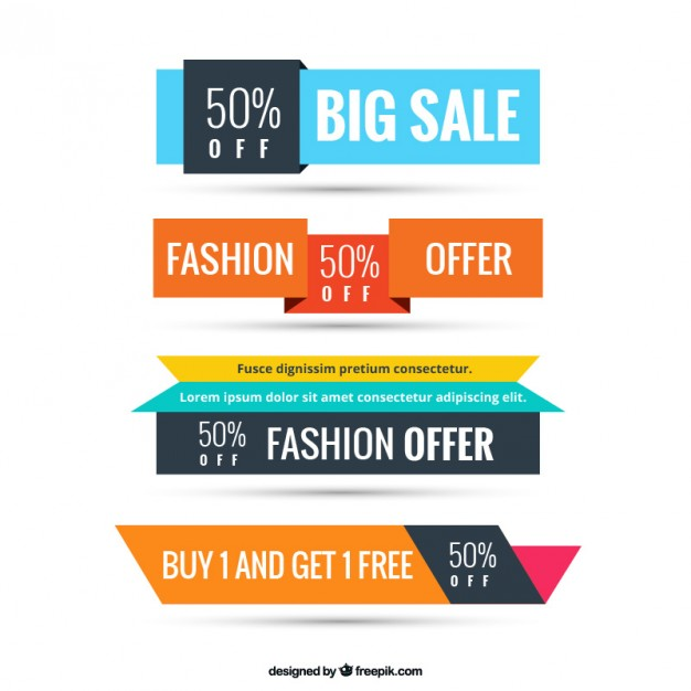 Colorful sale banners  Vector | Free Download