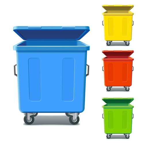Colorful trash can vector 02