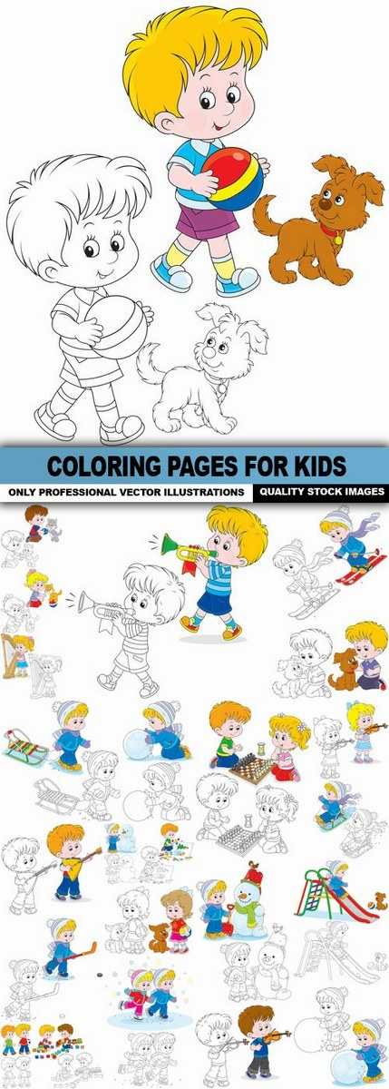 Coloring Pages For Kids – 25 Vector
