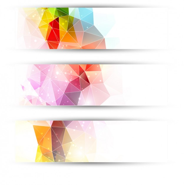 Colourful triangles headers  Vector | Free Download
