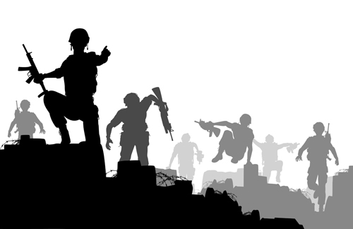 Combat troops vector silhouette