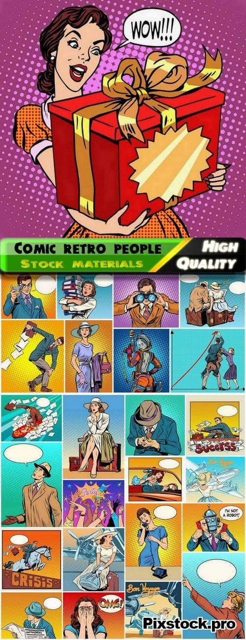 Comic retro people on dots halftones backgrounds 2 – 25 Eps