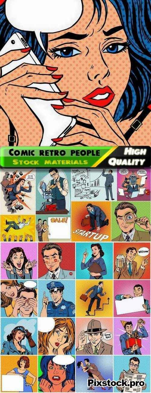 Comic retro people on dots halftones backgrounds – 25 Eps