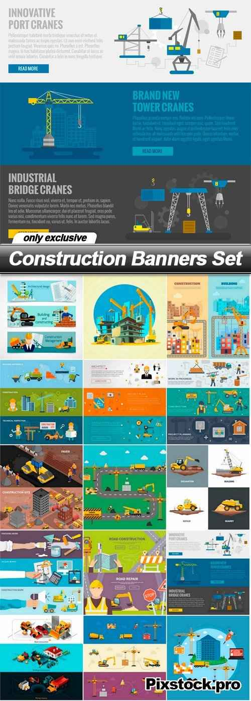 Construction Banners Set – 15 EPS