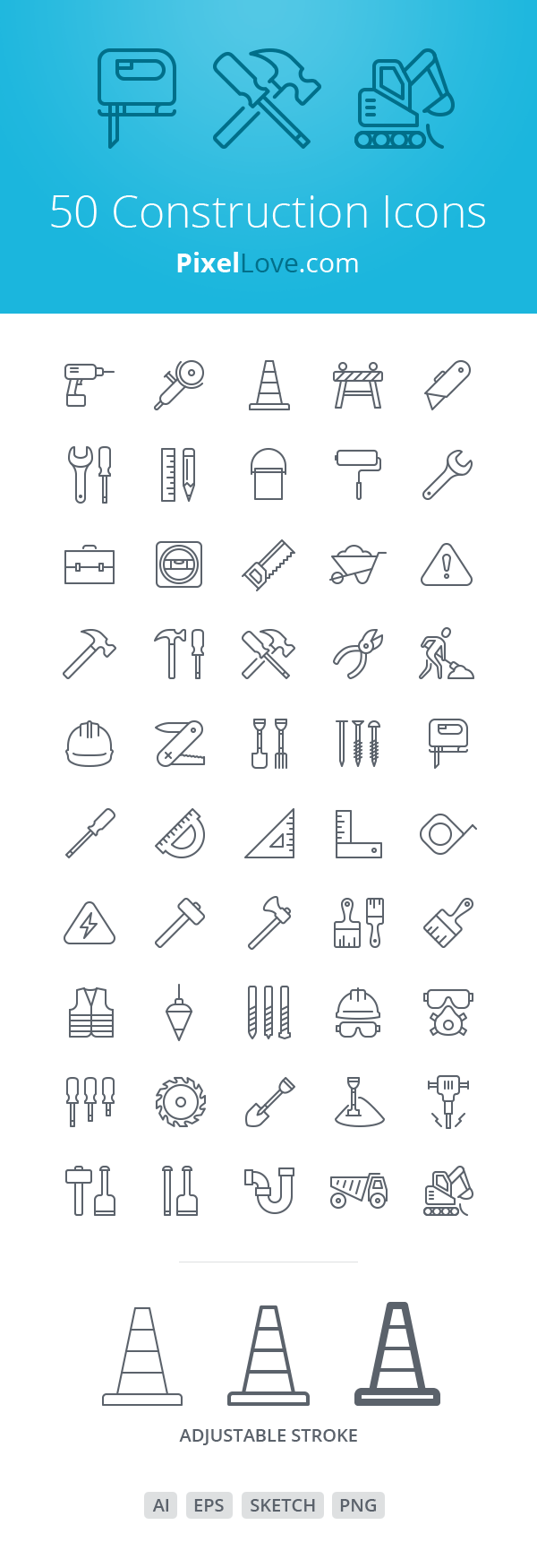 50 Construction Icons for iOS 8 | GraphicBurger