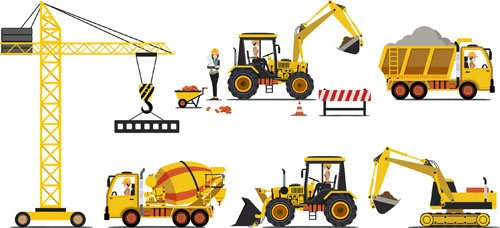 Construction vehicles design vectors set 02