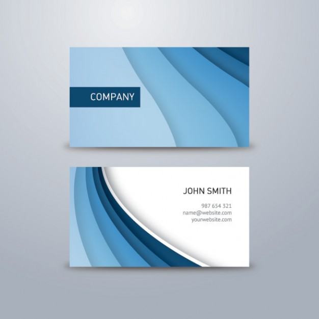 Corporate business card with blue waves  Vector | Free Download