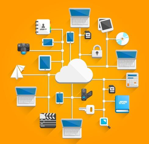 Creative cloud digital network vector template 05