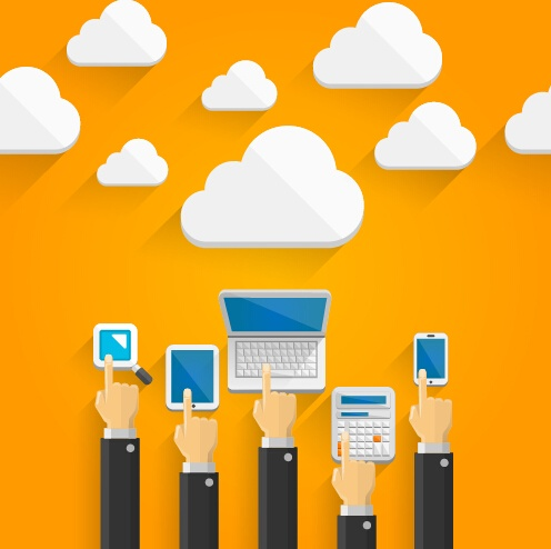 Creative cloud digital network vector template 03
