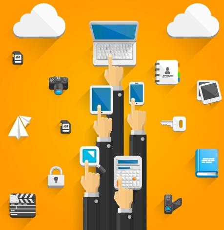 Creative cloud digital network vector template 01