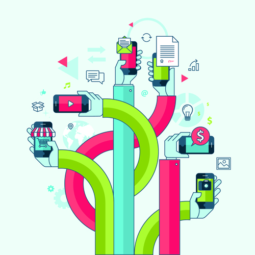 Creative Internet communication business template vector 06