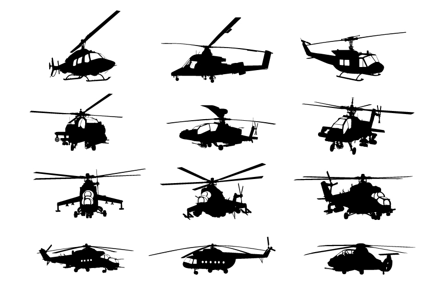Creative military helicopter silhouette vector material