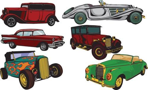 Creative retor cars vector material 01