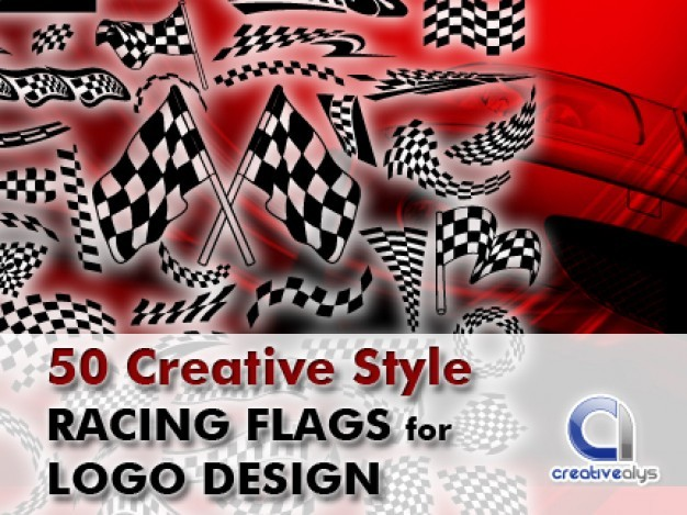 50 Creative Style Racing Flags for Logo Design