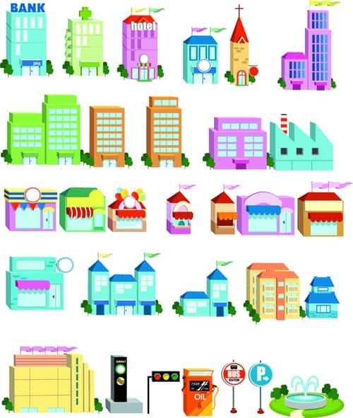 Cute city houses creative vector 03