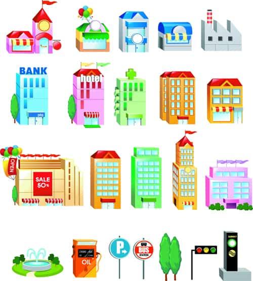 Cute city houses creative vector 02