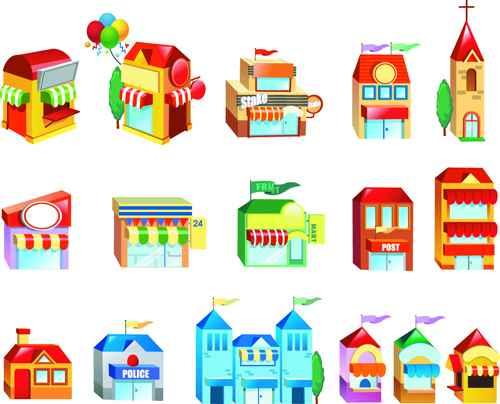 Cute city houses creative vector 01