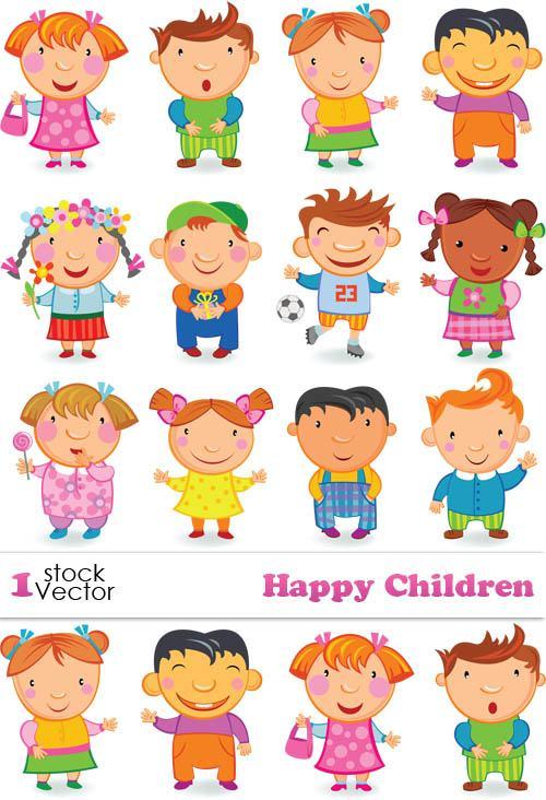 Cute Happy Children elements Vector