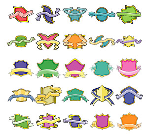 Cute style shields and streamers vector material