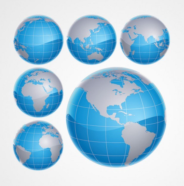 3D Blue Globe World Vector | Free Download
