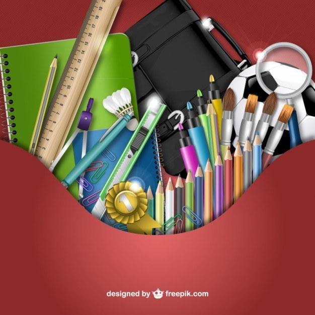 3D School supplies vector