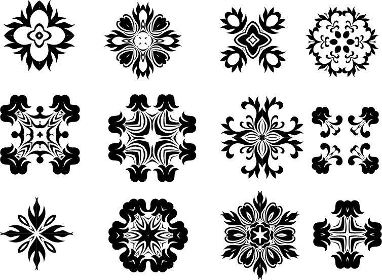 12 Decorative Radial Elements Set