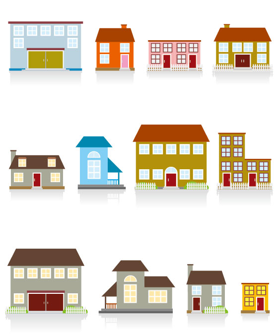Different cartoon Houses elements vector 01