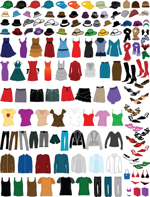 Different Clothes elements vector 02