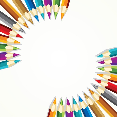 Different Colored pencil vector set 01