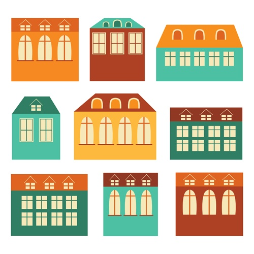 Different house set vector 05