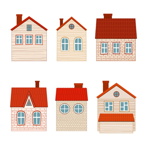 Different house set vector 01
