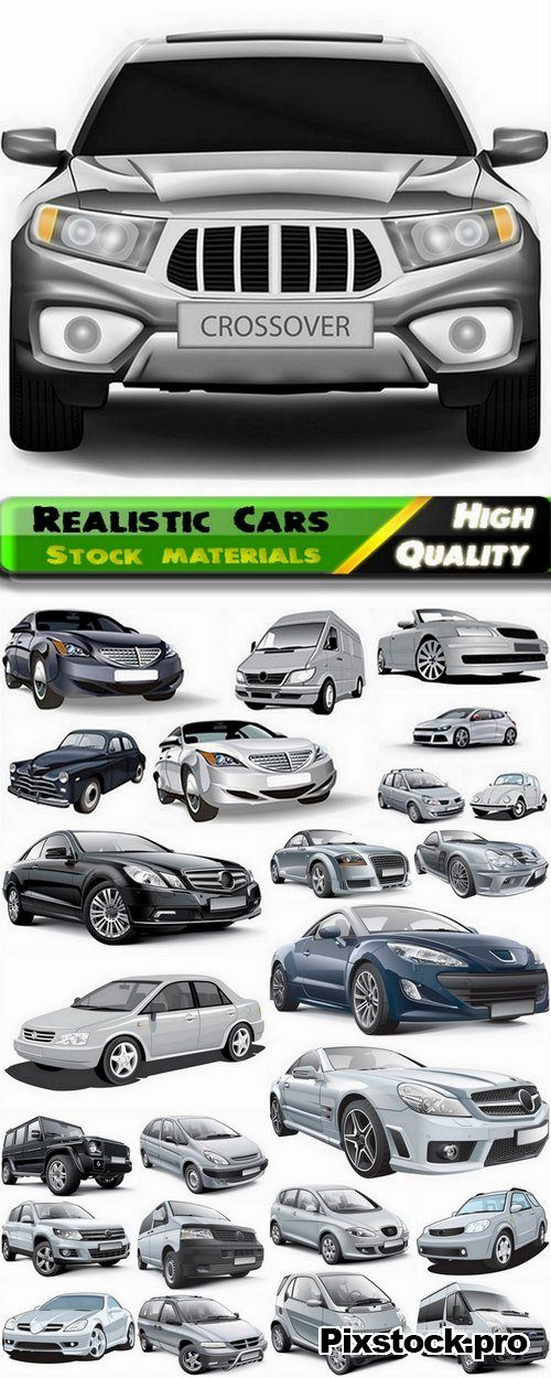 Different realistic Cars in vector from stock – 25 Eps