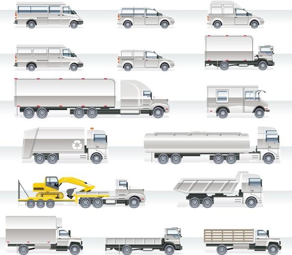 Different trucks design graphics vector