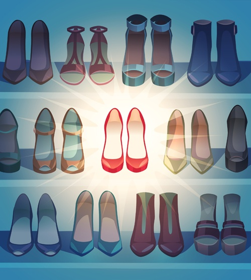 Different woman shoes vector design