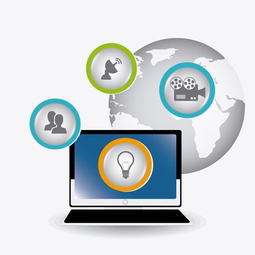 Digital marketing infographics vector material 04