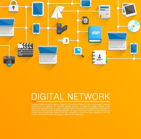 digital network vector background