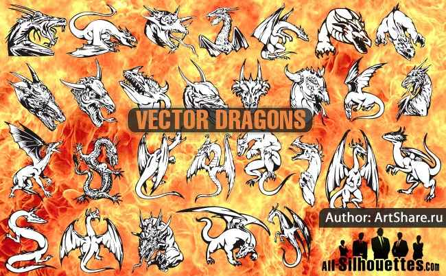 Download free vector dragons