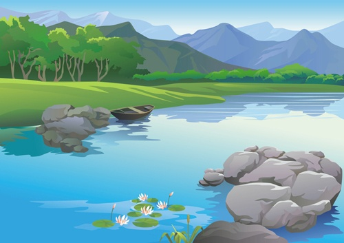 Drawn beautiful landscapes vector material 02