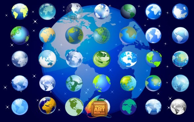 Earth Globe Icons Set  Vector | Free Download